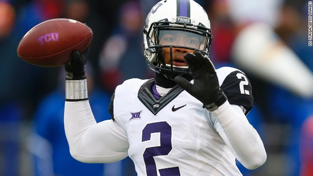 LAWRENCE, KS - NOVEMBER 15: Trevone Boykin #2 of the TCU Horned Frogs drops back for a pass against the Kansas Jayhawks in first quarter at Memorial Stadium on November 15, 2014 in Lawrence, Kansas. (Photo by Ed Zurga/Getty Images)