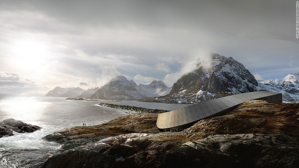 Norway's Lofoten archipelago is a dramatic union of soaring peaks, untouched beaches and sheltered bays. The Lofoten Opera Hotel cascades toward the sea from the mountains.
