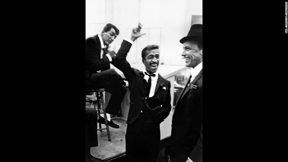 From left, Dean Martin, Sammy Davis Jr. and Frank Sinatra in a recording studio in 1955.