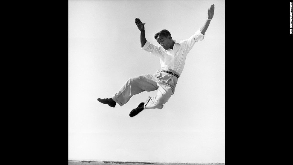 Sammy Davis Jr. dancing on a Hollywood rooftop in 1947.