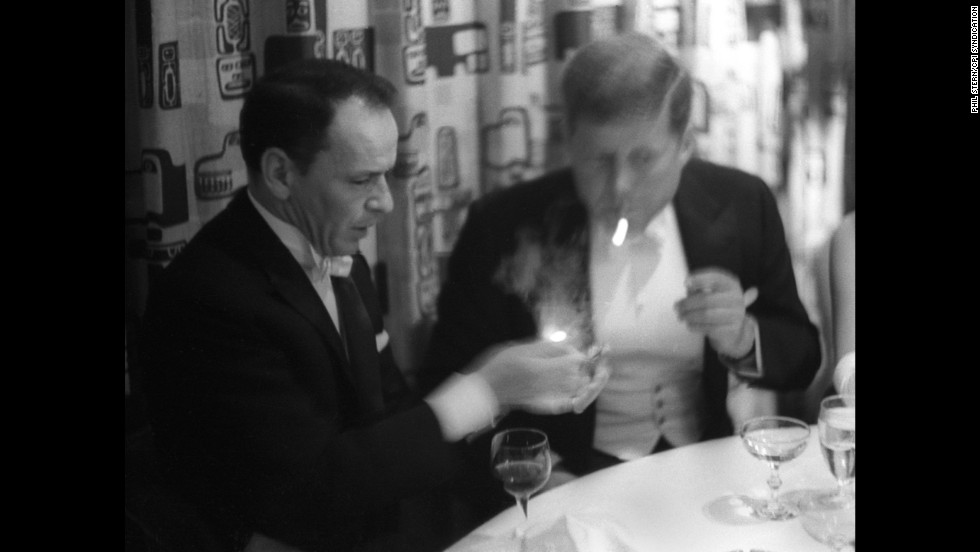 Frank Sinatra and U.S. President John F. Kennedy at a gala in 1961.