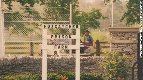 After his arrest in 1996, John du Pont had this sign erected on his estate.