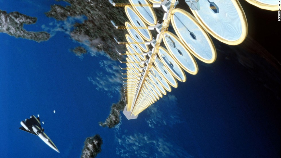 NASA has developed several concepts for a space-based solar power station. This one is called the Sun Tower and would involve an array of inflatable circular solar concentrators. Even before any energy is produced, it is estimated to cost at least $12 billion.