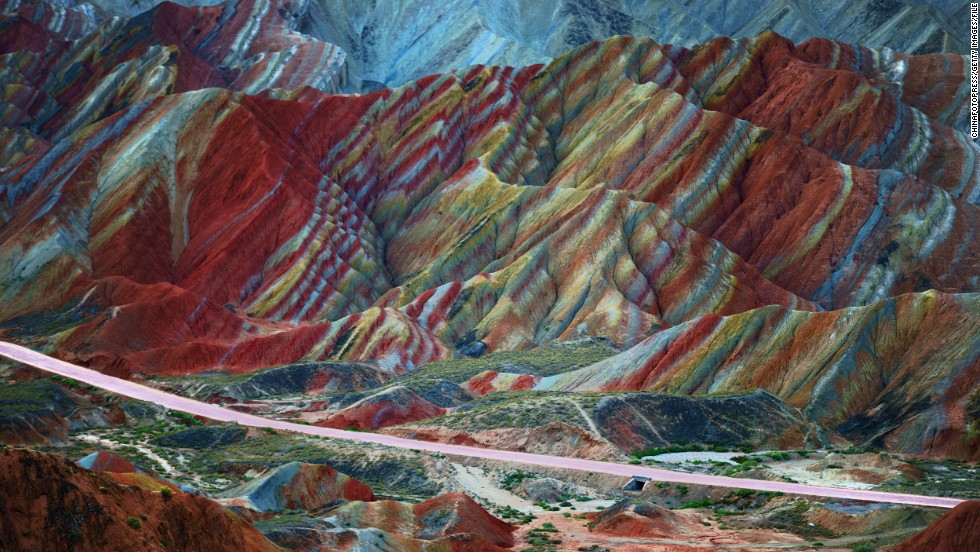 Beautifully striped rock formations define the Danxia Landform near Zhangye in China's Gansu province. The rich, earthy, colors are the result of sandstone and minerals deposited millions of years ago.