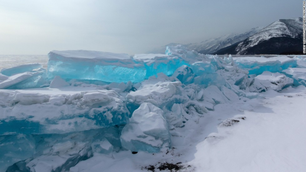With a maximum depth of about 5,250 feet (more than 1,600 meters), Lake Baikal in Siberia is the world's deepest lake. It also contains nearly 20% of the globe's unfrozen freshwater reserve. The lake produces a mesmerizing clear turquoise ice when it does freeze.