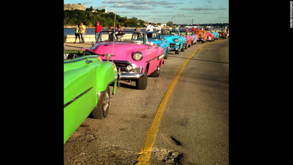 "CNN's Patrick Oppmann loves to capture ""Cuba moments"" with his camera, including this Instagram post of ""a row of classic cars rented for a wedding lined up on the malecon (Havana's famous highway and seawall)."" Oppmann, the only U.S.  television correspondent based in Cuba, has lived on the Caribbean island for three years.  Check out some of his favorite images or <a href=""http://instagram.com/cubareporter/"" target=""_blank"">follow him on Instagram:</a>"