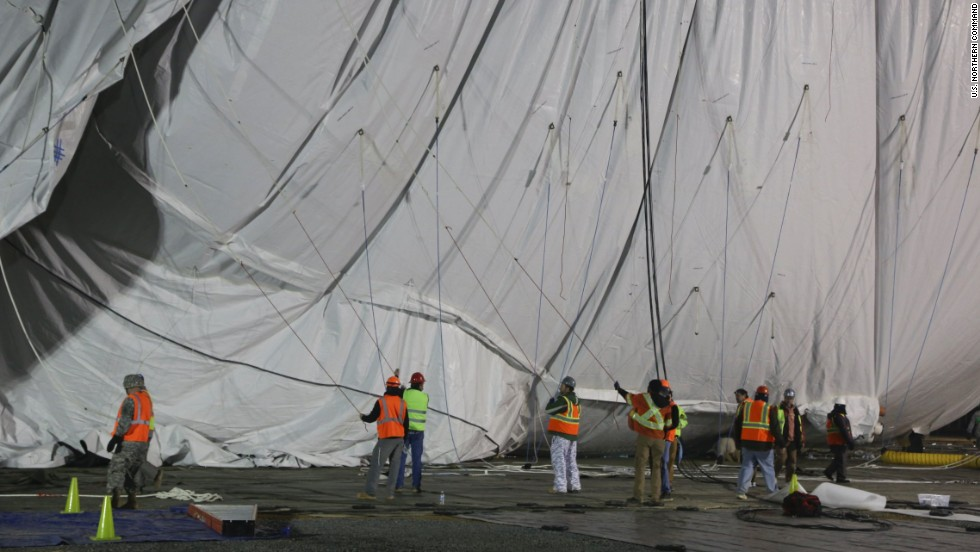 When inflated and tethered, the aerostat will rise to 10,000 feet.