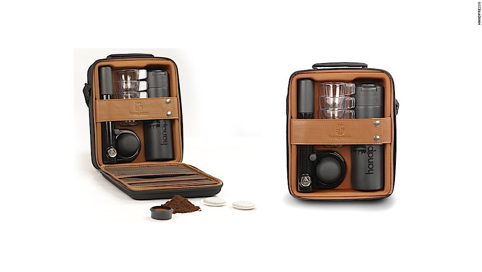The Handpresso is a small, portable manual espresso machine that uses ground coffee or E.S.E. espresso pods. The Outdoor Set Hybrid (pictured) is for caffeine delivery on the go.
