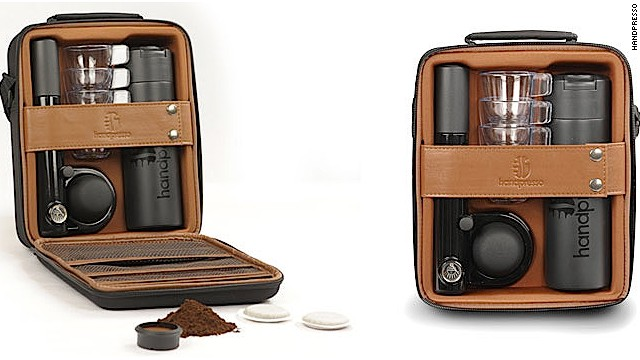 The Handpresso comes is a small, portable manual espresso machine that uses either ground coffee or E.S.E. espresso pods. The Outdoor Set Hybrid is perfect for travelers,