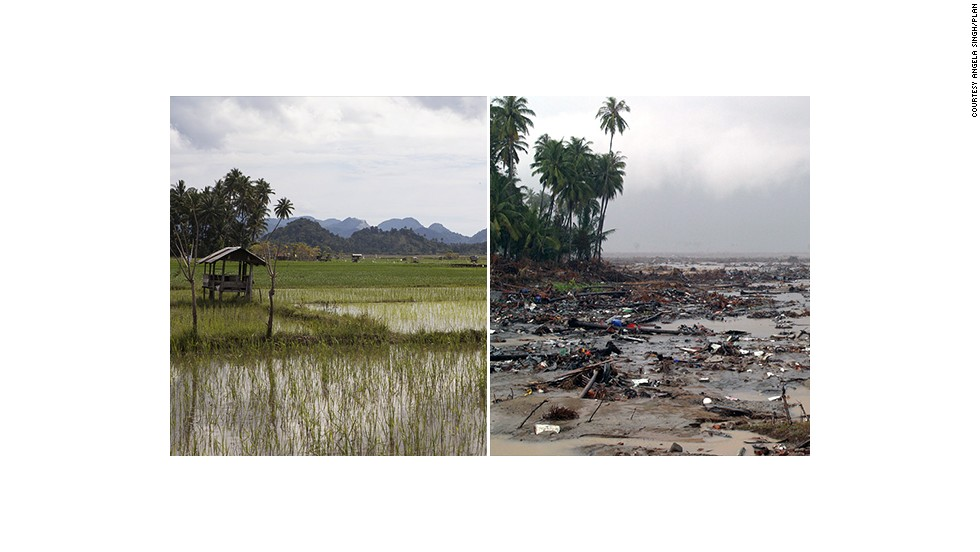These images show how Aceh in Indonesia's northern Sumatra region has rebuilt itself 10 years after a devastating tsunami. This paddy field in Lhoknga sub-district was filled with rubbish and debris in the wake of the disaster.