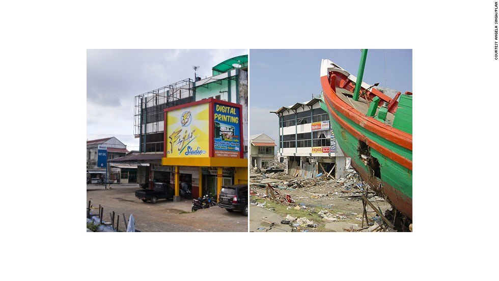 After the tsunami, this boat was washed inland and planted in the middle of a devastated Banda Aceh. Ten years on and business is buzzing again in the city.