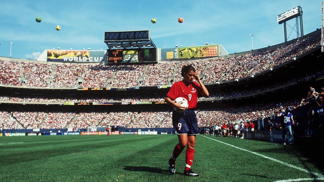 Hamm was part of the U.S. team which won the inaugural Women's World Cup in 1991 and she was the star attraction when the competition arrived on American soil in 1999.