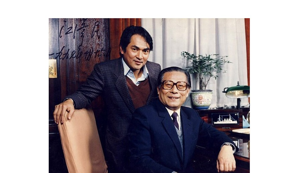 With former president Jiang Zemin when he was Shanghai mayor.