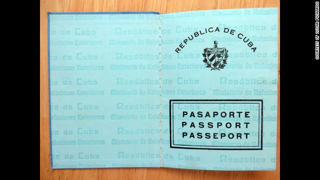 Oscar Pichardo's Cuban passport, his last official document from Cuba.