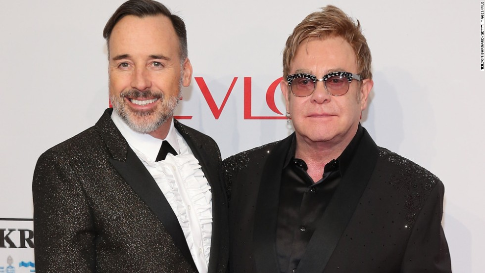 "<a href=""http://www.cnn.com/2014/12/21/showbiz/elton-john-wedding/index.html"" target=""_blank"">David Furnish, left, and Sir Elton John married</a> in December 2014 in Britain. They had a civil partnership ceremony in 2005 after 12 years together."