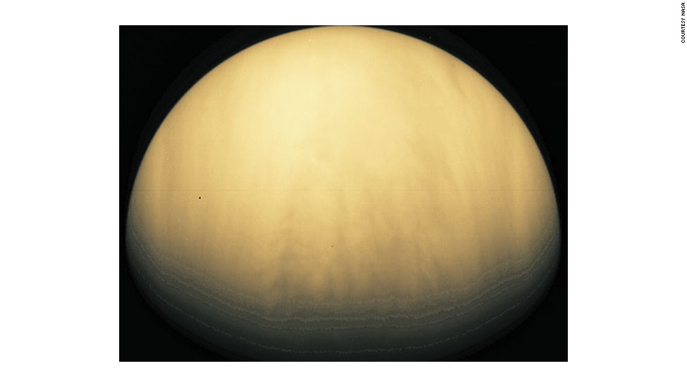 The Galileo spacecraft took this picture of cloudy Venus. The planet is similar to Earth in size and mass - and so is sometimes referred to as Earth's sister planet - but it has a quite different climate.