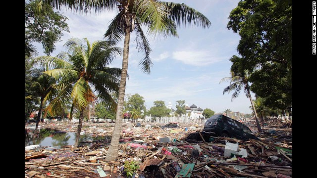 A scene of devastation is seen in the tsunami hit Indonesian City of Banda Aceh -150 miles from southern Asia's massive earthquake's epicenter - on December 28, 2004, Banda Aceh, Indonesia. Up to 55,000 are feared dead across South East Asia and the number is still rising with the possibility of disease outbreaks threatening to claim more as time goes on.