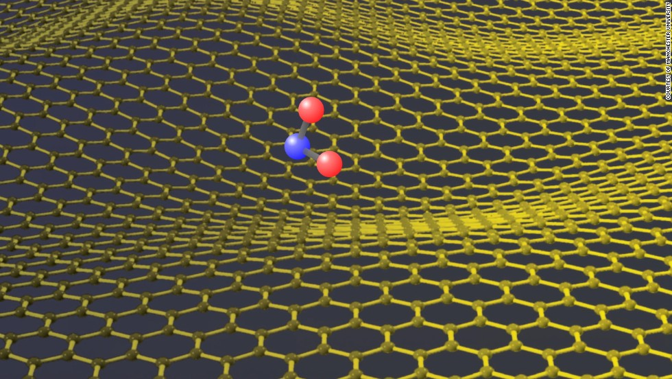 An artist's depiction of a NO2 molecule on a graphene surface. Graphene is known to be impermeable to atoms and molecules, but researchers found that protons from hydrogen atom could easily pass through the membrane with big implications for the way we make fuel-cell batteries.