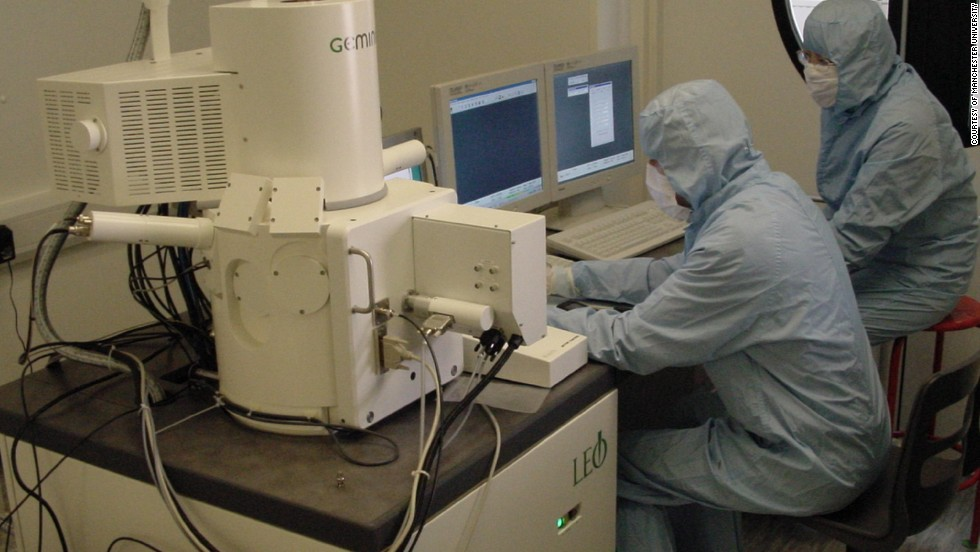 Researchers use electron-beam lithography to microfabricate graphene devices at Manchester University.