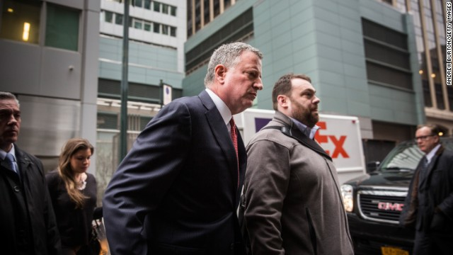 New York City Mayor Bill de Blasio arrives to speak at the Police Athletic League Luncheon on December 22, 2014 in New York City. Tension between the Mayor and the New York Police Department (NYPD) have been high after de Blasio sympathized with protesters who took to the streets after grand juries declined to charge white officers in the killings of unarmed black males. Police commissioner Bill Bratton urged to ease those strains in the wake of the shooting of NYPD officers, Wenjian Liu and Rafael Ramos, of the 84th Precinct who were killed execution style on December 20 as they sat in their marked police car on a Brooklyn street corner.