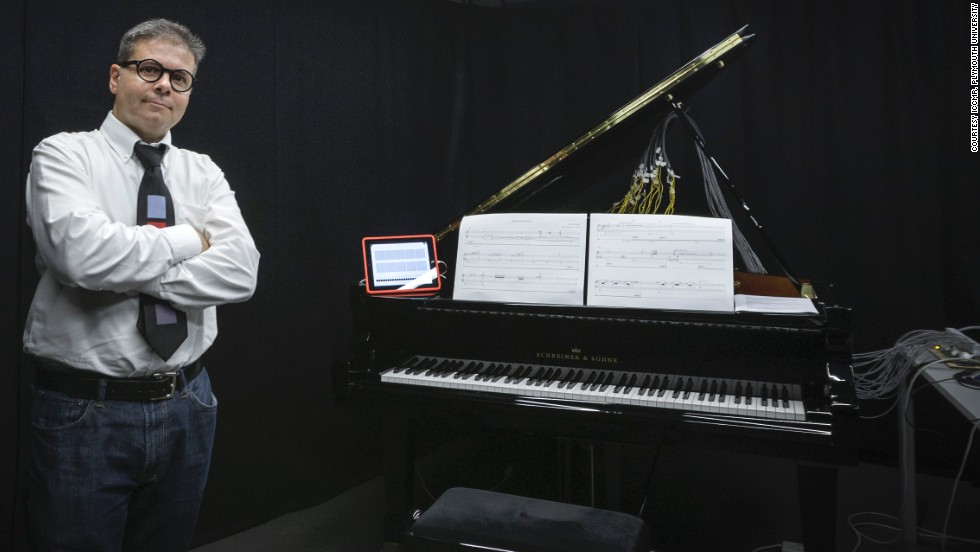 Musician Eduardo Miranda, pictured in his University of Plymouth research lab, is the man behind the tech. He wanted to design a piece of equipment that would help people living with paralysis after meeting a patient with locked in syndrome 11 years ago.
