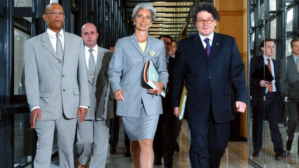 In June 2005, Lagarde joined the French government as Minister for Foreign Trade under French President Jacques Chirac. <br />She is seen here with French Minister of Economy Thierry Breton (R) arriving at a press conference in Paris, France.