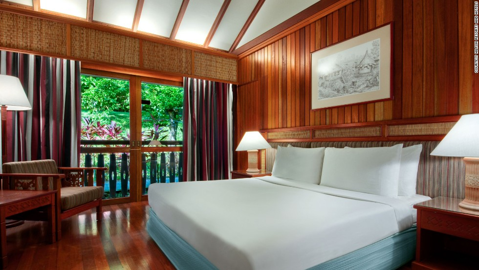The Batang Ai resort's rooms provide an air conditioned escape from the humidity of the rain forest.