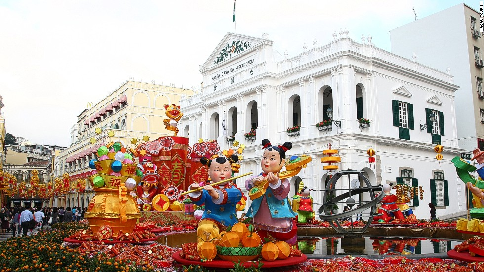 Historic Macau, with its blend of Portuguese and Chinese cultures, hosts some of the most colorful Lunar New Year celebrations on earth.