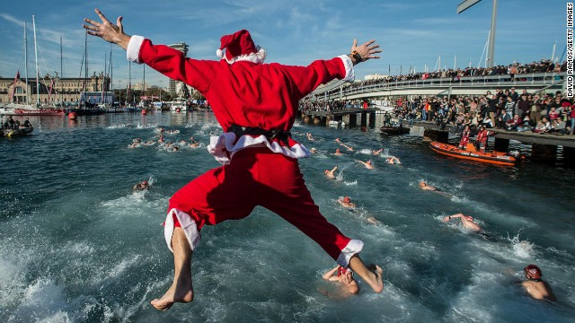 Barcelona's Copa Nadal is a 200-meter swimming competition across the harbor on Christmas Day.