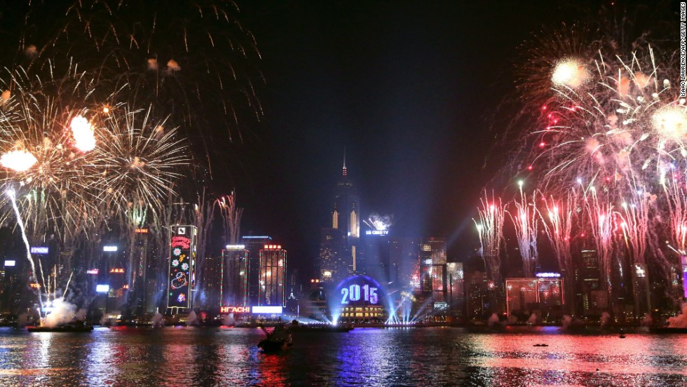Fireworks explode over the Victoria Harbour as Hong Kong rings in the new year.