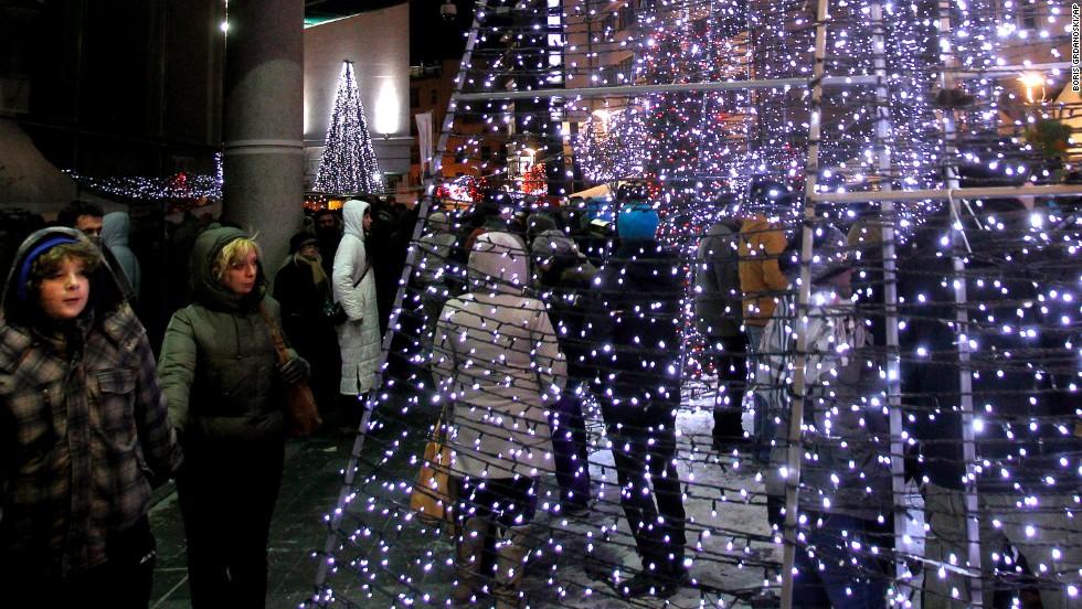 New Year's Eve is celebrated in Skopje, Macedonia.