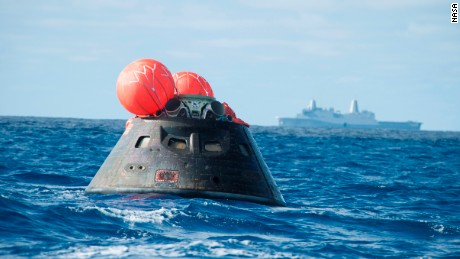 NASA's Orion spacecraft bobs in the Pacific Ocean on December 5 after its first test flight.
