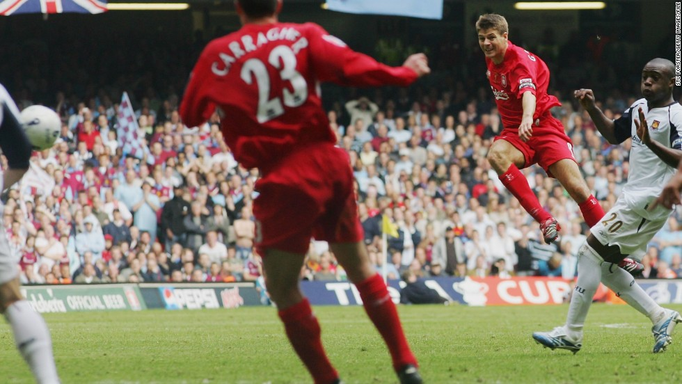 The 2006 FA Cup final offered up yet another typical Gerrard performance. Liverpool were on the brink on losing to West Ham, when the captain rifled home a shot at the death to send the game into extra time. Liverpool would go on to lift the cup, winning 3-1 on penalties.