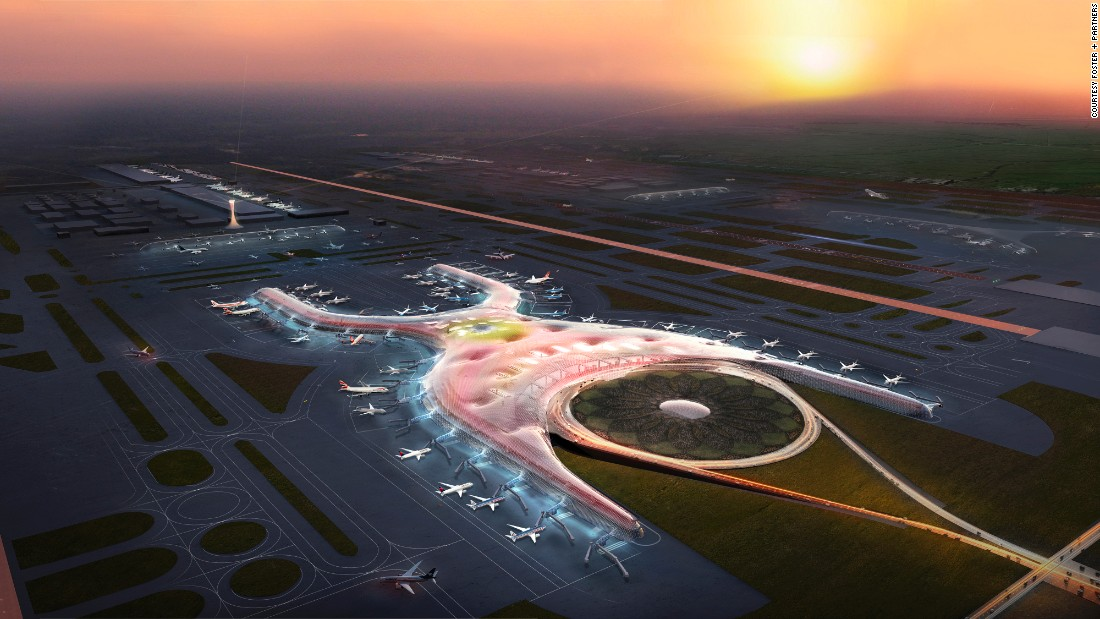 "This year will see construction begin on the new <a href=""http://www.fosterandpartners.com/news/archive/2014/09/httpwwwfosterandpartnerscomnewsarchive201409foster-and-partners-to-design-new-international-airport-for-mexico-city/"" target=""_blank"">Mexico City International Airport</a>, boasting to be the ""most sustainable airport in the world."" The airport will have just one terminal, measuring 470,000-square-meters, which will eventually serve six runways.<br /><br />[Artist's rendering.]"