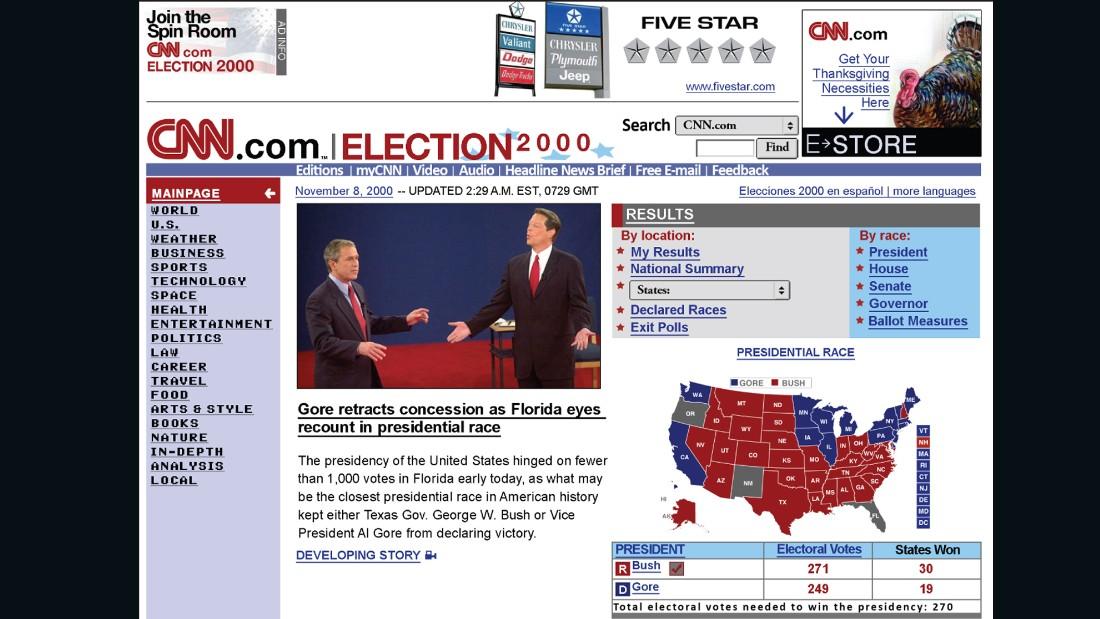 CNN homepage, 2000.