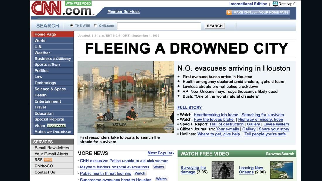 CNN homepage, 2005.