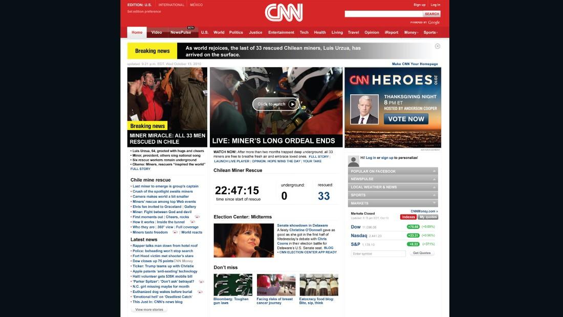 CNN homepage, 2010.