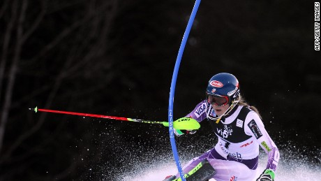 Mikaela Shiffrin of USA clears the pole during the first run of the FIS slalom ski event on mounting Sljeme, some 10 kilometers from capital Zagreb on January 4, 2015.