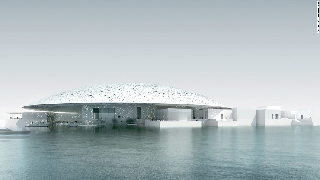 "Abu Dhabi <a href=""http://www.nytimes.com/2007/03/07/arts/design/07louv.html?_r=0"" target=""_blank"">paid the Louvre $500m </a>to co-opt the prestigious French institution's name, and a reported $600 million more to build architect <a href=""http://www.jeannouveldesign.fr/en/"" target=""_blank"">Jean Nouvel</a>'s alien-looking creation -- a design apparently inspired by Arabic architecture's characteristic ""Cupola"" domes. <br /><br />[Artist's rendering.]"