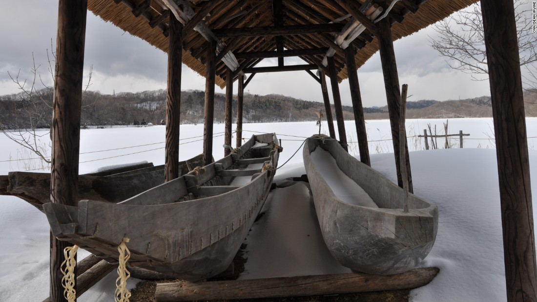 Traditional wooden canoes..