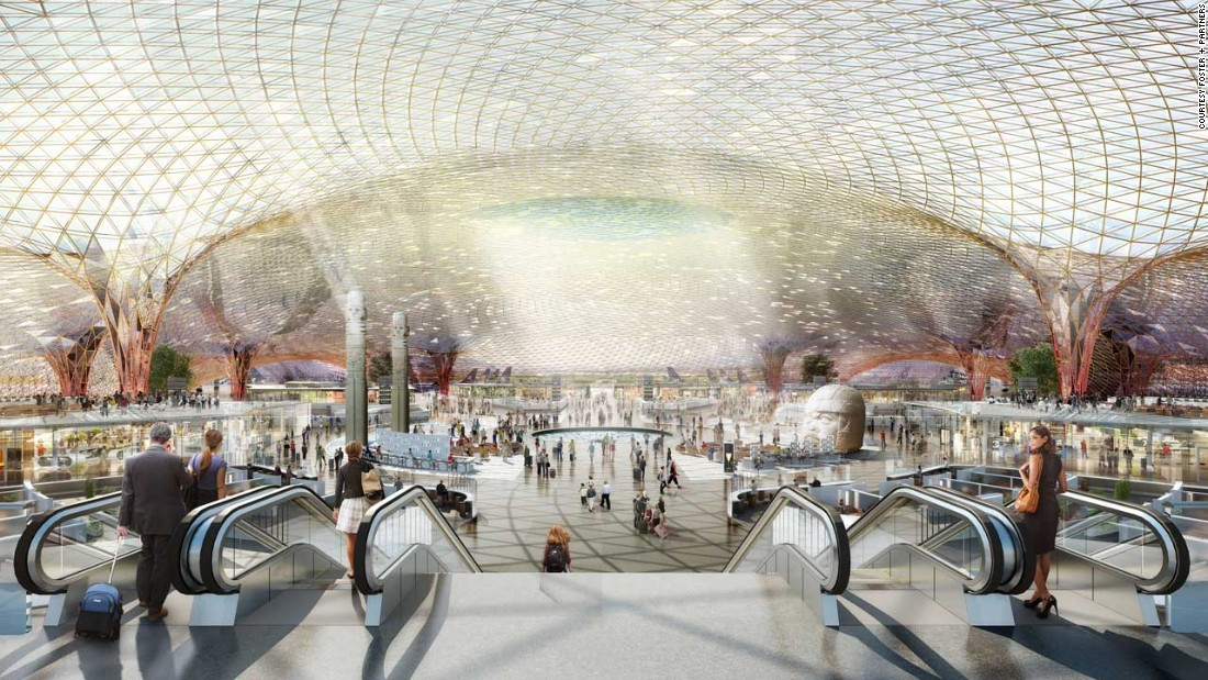 """The design marks a collaboration between legendary British architect Norman Foster's <a href=""""http://www.fosterandpartners.com/news/archive/2014/09/httpwwwfosterandpartnerscomnewsarchive201409foster-and-partners-to-design-new-international-airport-for-mexico-city/"""" target=""""_blank"""">Foster + Partners </a>and Mexican <a href=""""http://fr-ee.org/mexico-city-airport/"""" target=""""_blank"""">Fernando Romero's FR-EE</a>. The pair claim their design sets a new template for airports, featuring cavernous open spaces that merge terminals to use less building material. <br /><br />[Artist's rendering.]"""