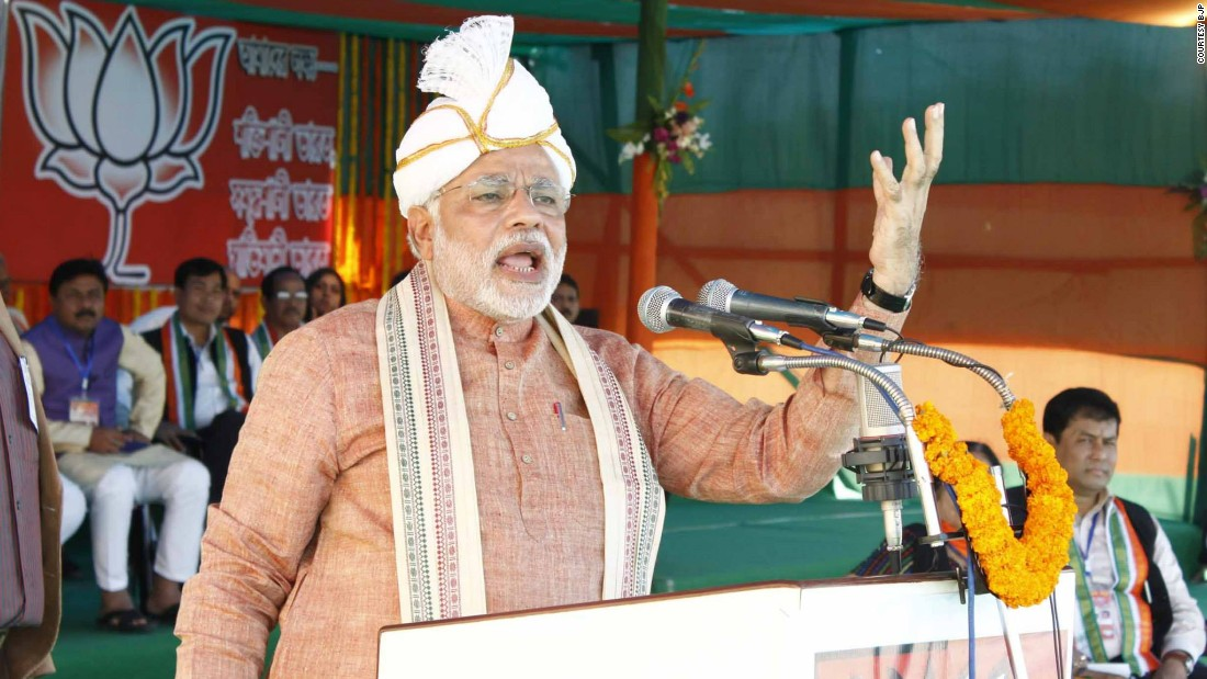 Modi wears a Koyet, a local headdress worn by the Meitei community in the state of Manipur in India.