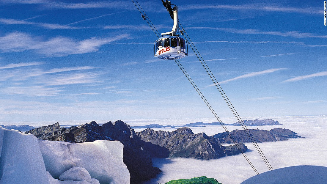 The Titlis Rotair is the world's first rotating gondola. The most spectacular part of the journey is the final and highest stretch, which cruises over one of Europe's largest glaciers.