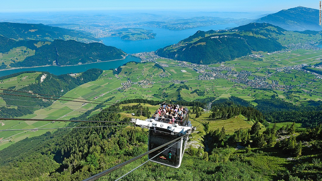 The Stanserhorn Cabrio is the first cable car to feature a roofless upper deck. It carries passengers 2,320 meters to the top of the Stanserhorn Mountain.