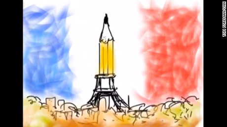 """Thinking of our friends across the waves,"" wrote CNN correspondent Tom Foreman, with this animated illustration he shared on Facebook."