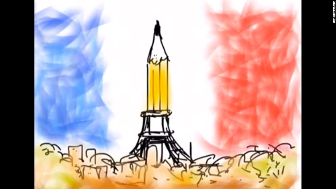 """Thinking of our friends across the waves,"" CNN correspondent and cartoonist Tom Foreman wrote on Facebook with <a href=""https://www.facebook.com/video.php?v=623325321106165&set=vb.558200580951973&type=2&theater"" target=""_blank"">this animated illustration</a>."