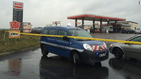 Two of the three suspects still wanted in connection with the attack at French satirical magazine Charlie Hebdo were last see at this gas station in Villers-Cotterets, France on Thursday, Jan 8, 2015.