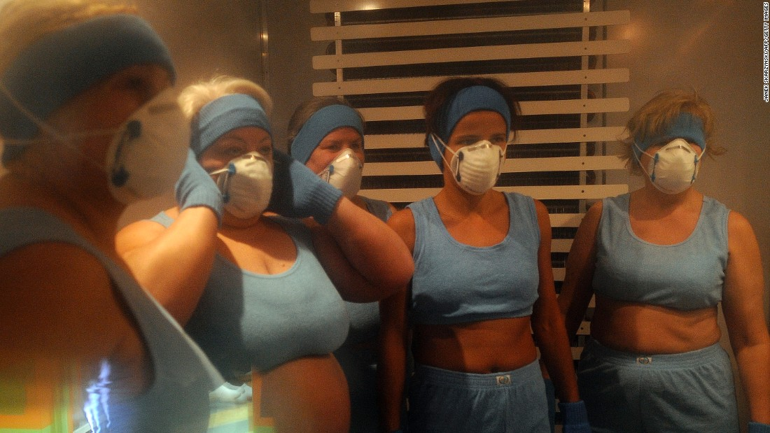 Protective clothing to keep the chill away from the delicate parts of the body is a must for these female cryotherapy participants at the pioneering Olympic Sports Center in Spala, near the Polish capital of Warsaw.
