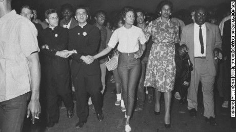 Boynton Robinson, third from right, at an integration march in 1964.