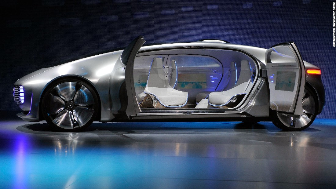 "The <a href=""https://www.mercedes-benz.com/en/mercedes-benz/innovation/research-vehicle-f-015-luxury-in-motion/"" target=""_blank"">F 015 Luxury in Motion</a> concept car by Mercedes-Benz, which features an automated driving option, luxury ""mobile living space"" interior and communicates with its surroundings using both audio and lights."